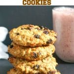 Healthy Peanut Butter Oatmeal Raisin Cookies that are vegan and gluten free, some seriously delicious cookies for kids and grown-ups alike. They have no refined-sugar added, and make a fantastic afterschool snack. Or even some healthy breakfast cookies to be enjoyed on the go.