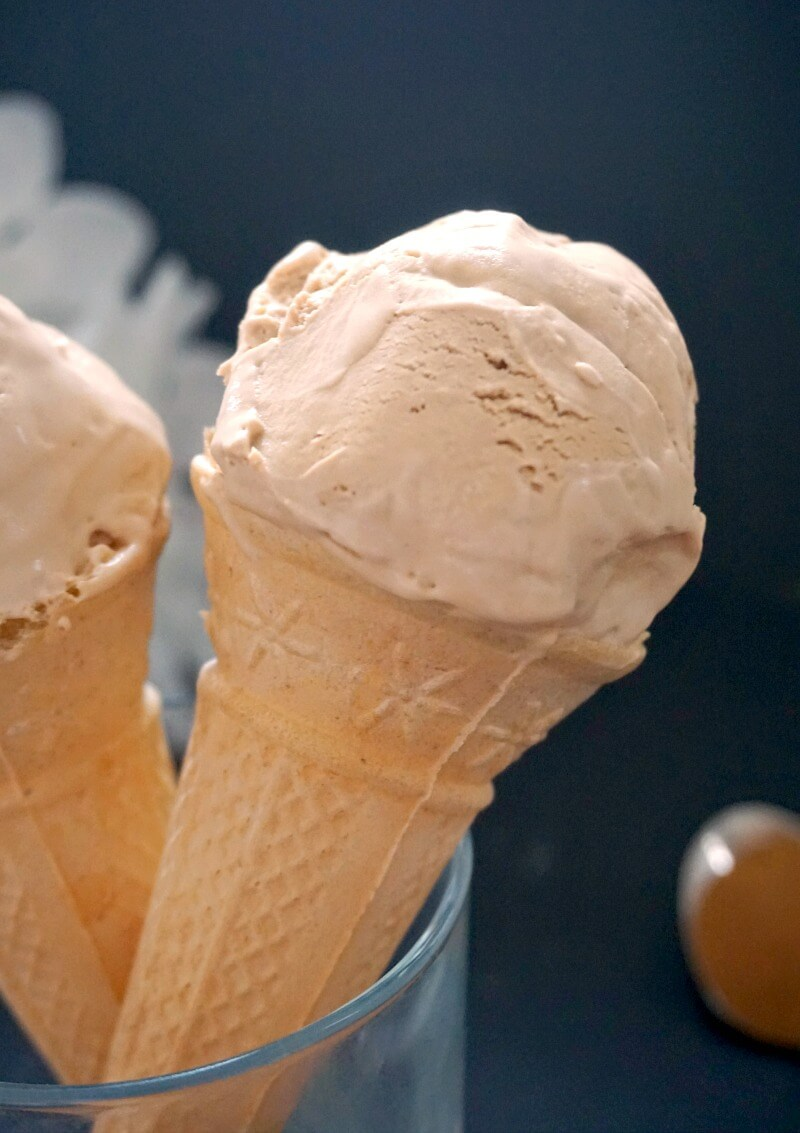 Close-up shoot of a cone with coffee ice cream