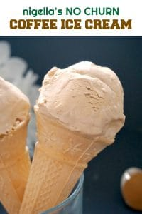 Nigella's Coffee Ice Cream, a delicious no-churn ice cream made with condensed milk and double cream. The best summer treat for grown-ups. Super simple, better than any store-bought ice cream.