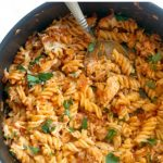 One-Pot Leftover Chicken Roast Pasta, a quick and easy chicken dinner recipe for the whole family. Transform your leftovers into a spectacular dish that will have everybody asking for seconds.