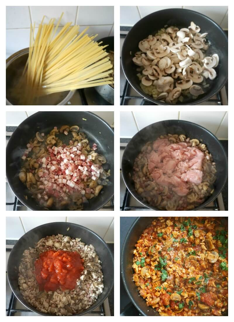 Collage of 6 photos to show how to make pasta with pancetta, mushrooms and chicken