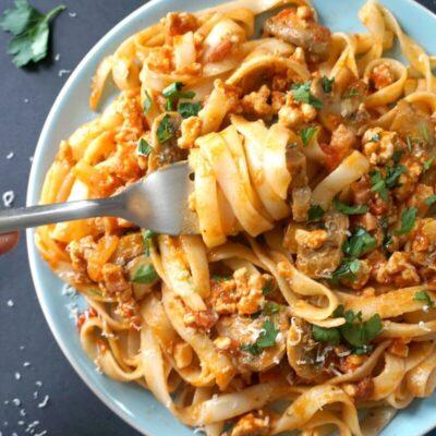 Pancetta, Chicken and Mushroom Tagliatelle