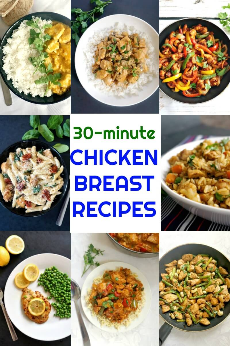 Quick and Easy Chicken Breast Recipes for Dinner with simple ingredients that won't cost a fortune, a collection of delicious chicken dishes that are ready in about 30 minutes or so. These recipes cater for all tastes, and can be enjoyed by the whole family.
