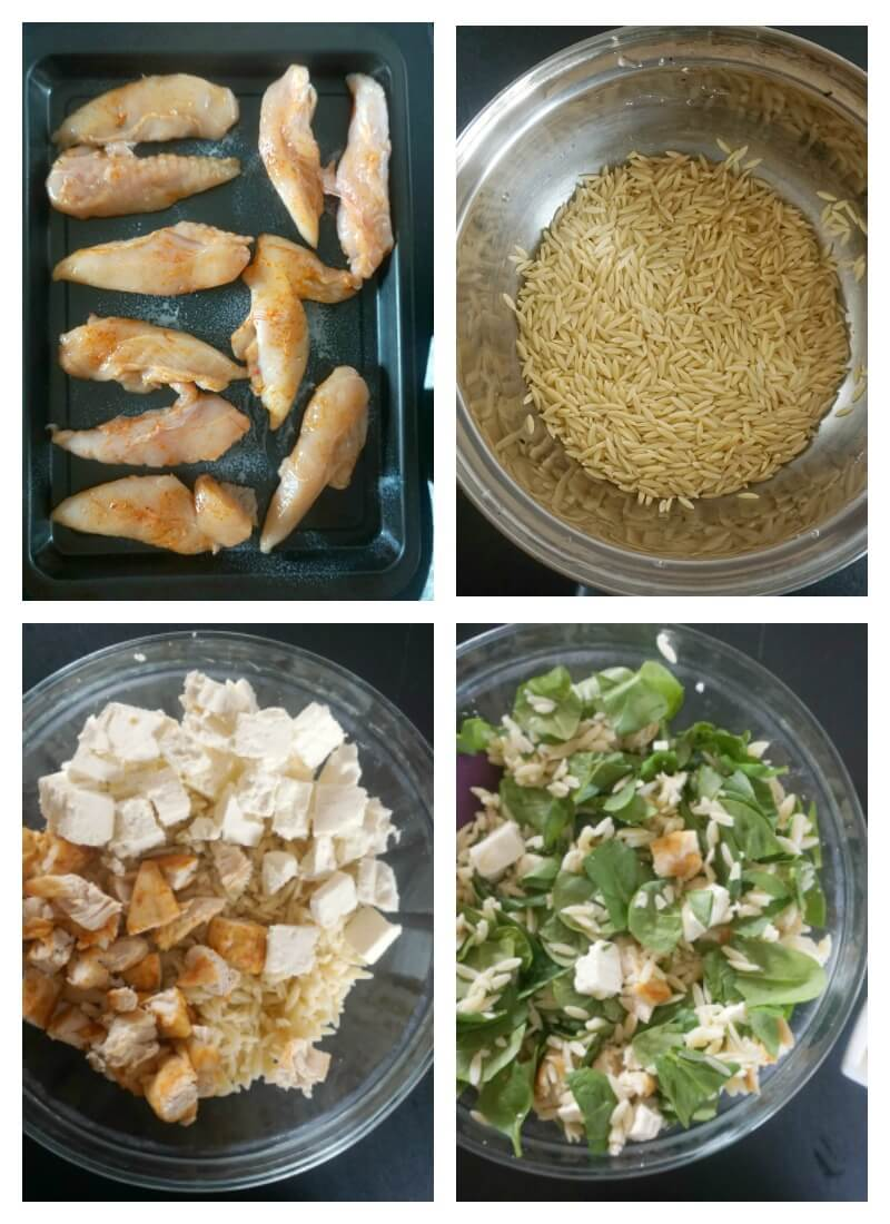 Collage of 4 photos to show how to make orzo salad