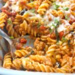 Close-up shoot of a dish with sausage pasta bake