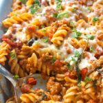 Creamy Sausage Pasta Bake, a delicious pasta dinner recipe that is ready in about 30 minutes. A big hit with kids and grown-ups alike, this easy Italian dish is so flavourful and comforting.