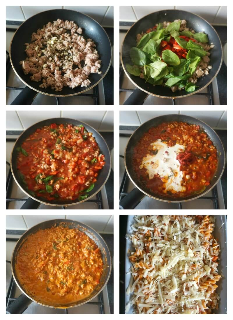 Collage of 6 photos to show step-by-step instructions how to make Italian sausage pasta bake