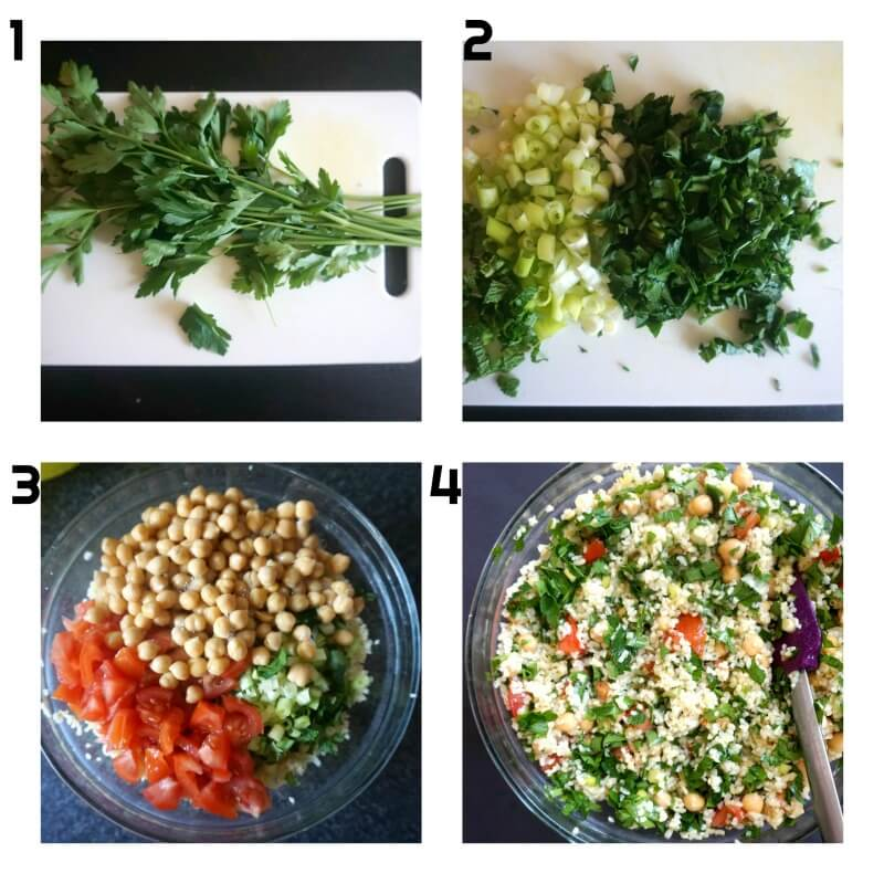 A collage of 4 photos to show how to make tabbouleh with chickpeas