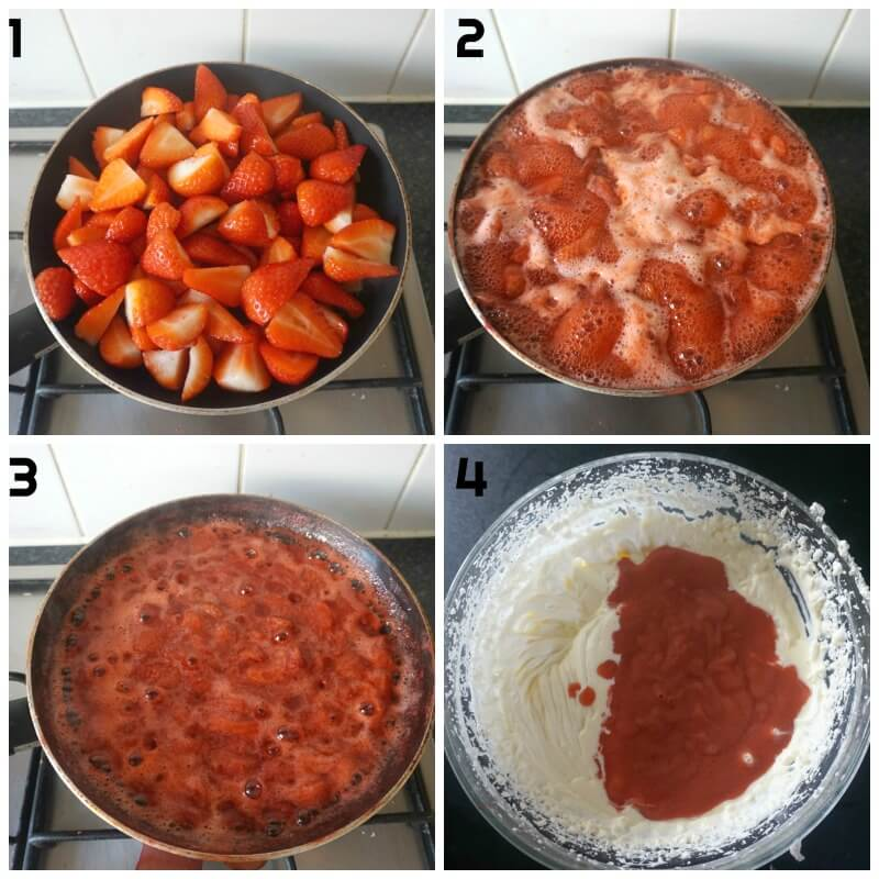 Collage of 4 photos to show how to make homemade strawberry ice cream with condensed milk