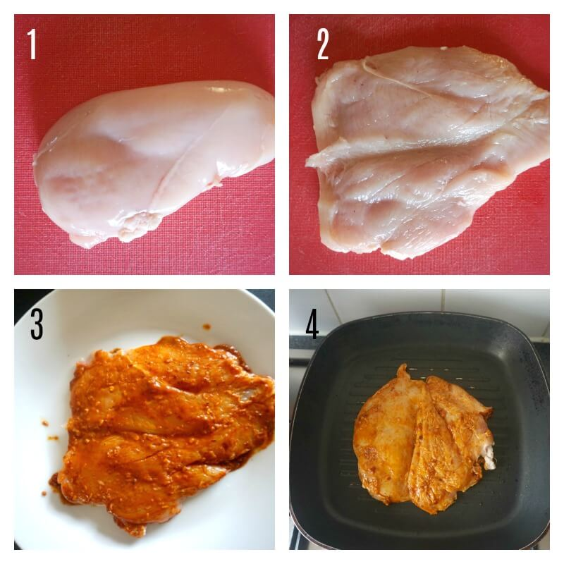 Collage of 4 photos to show how to make peri peri butterfly chicken breast