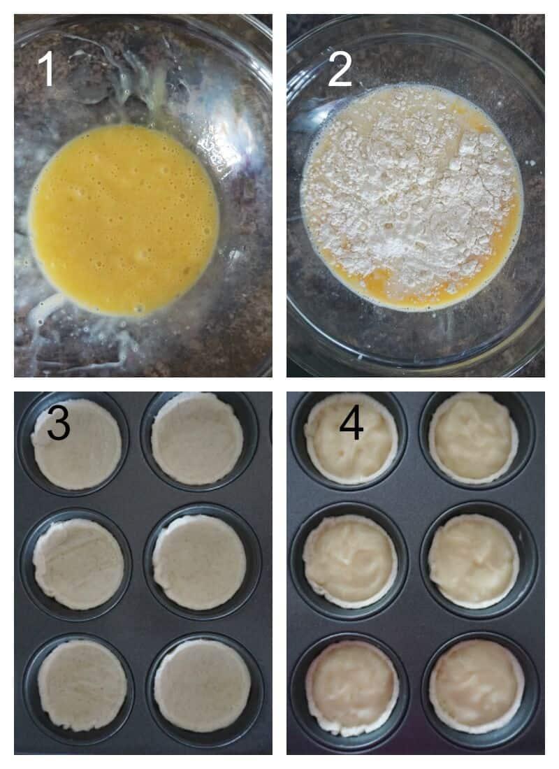 Collage of 4 photos to show how to make pasteis de nata