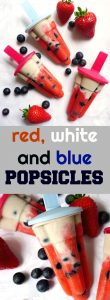 Healthy Homemade Red White and Blue Popsicles, the ultimate summer treat. Juicy strawberries, creamy mascarpone, banana and coconut cream, and blueberries. With no refined sugar added, these popsicles are suitable for the whole family, from little to big ones.