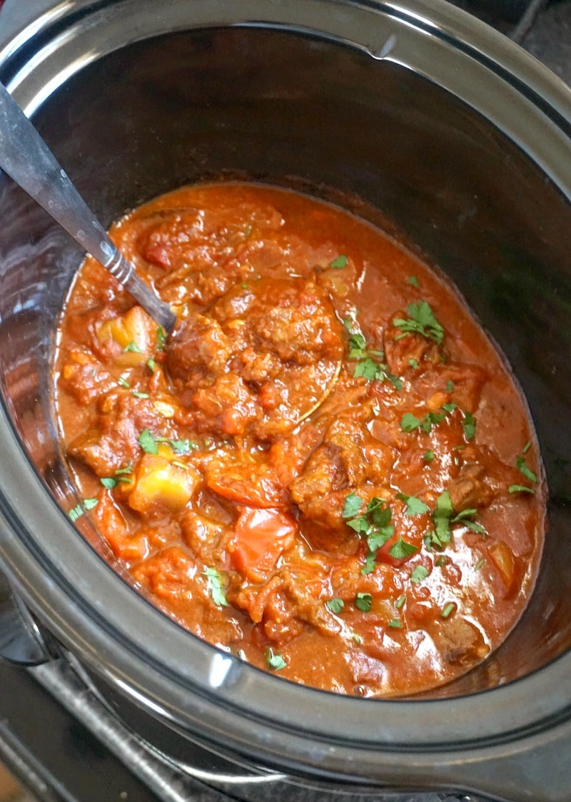 A crock pot with hungarian beef goulash