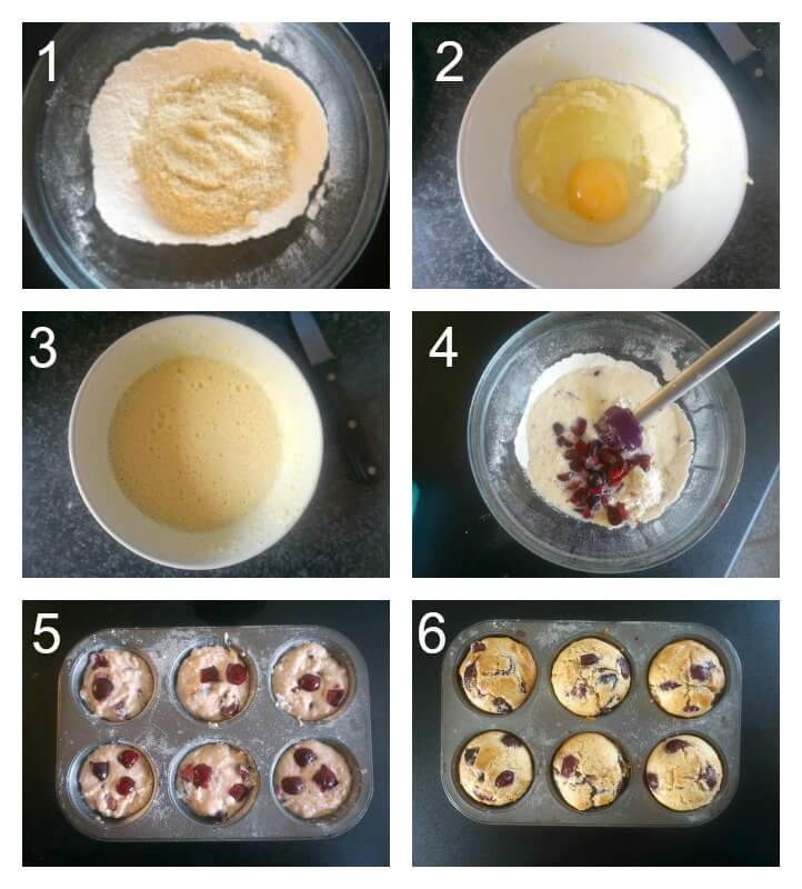 Collage of 6 photos to show how to make almond cherry muffins