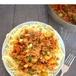 Easy Vegan Quorn Bolognese, a delicious meat-free version of the classic Italian dish. High in protein, healthy and nutritious, this quorn spaghetti bolognese is a family-favorite dish.