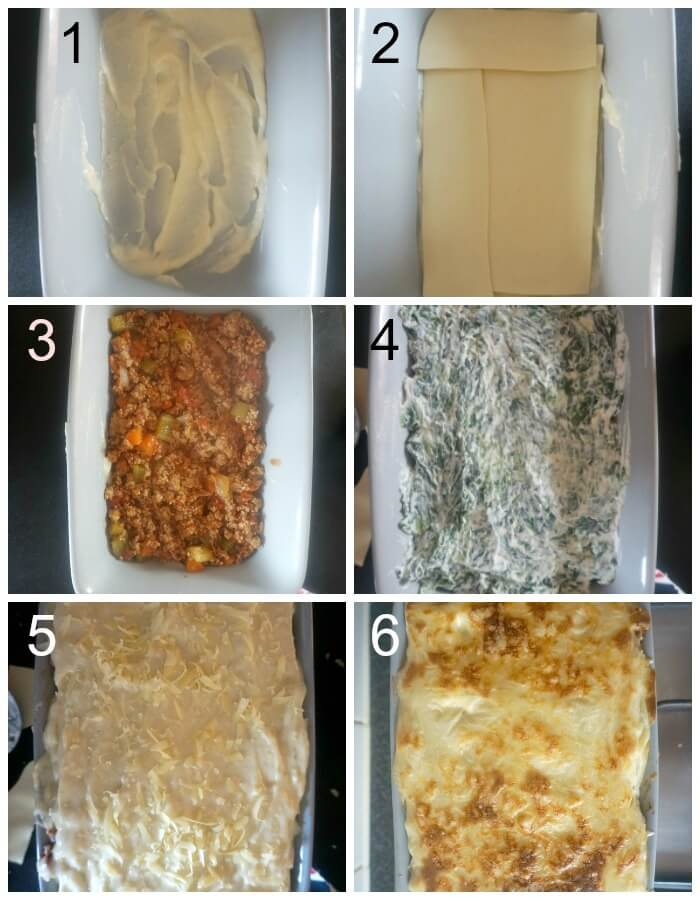 Collage of 6 photos to show how to assemble the turkey lasagna