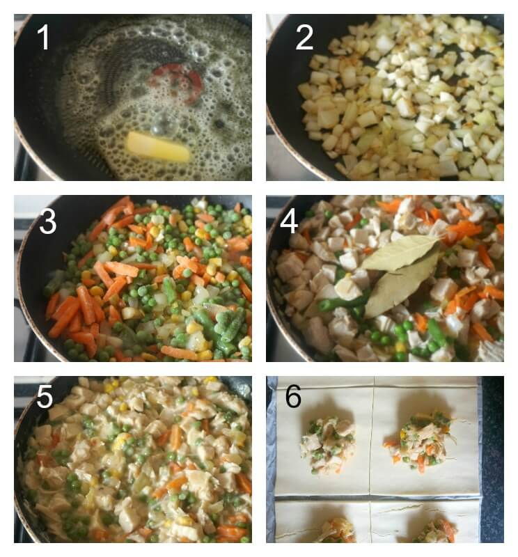 Collage of 6 photos to show how to make leftover turkey hand pies with puff pastry