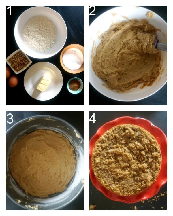 Collage of 4 photos to show how to make coffee and walnut cake