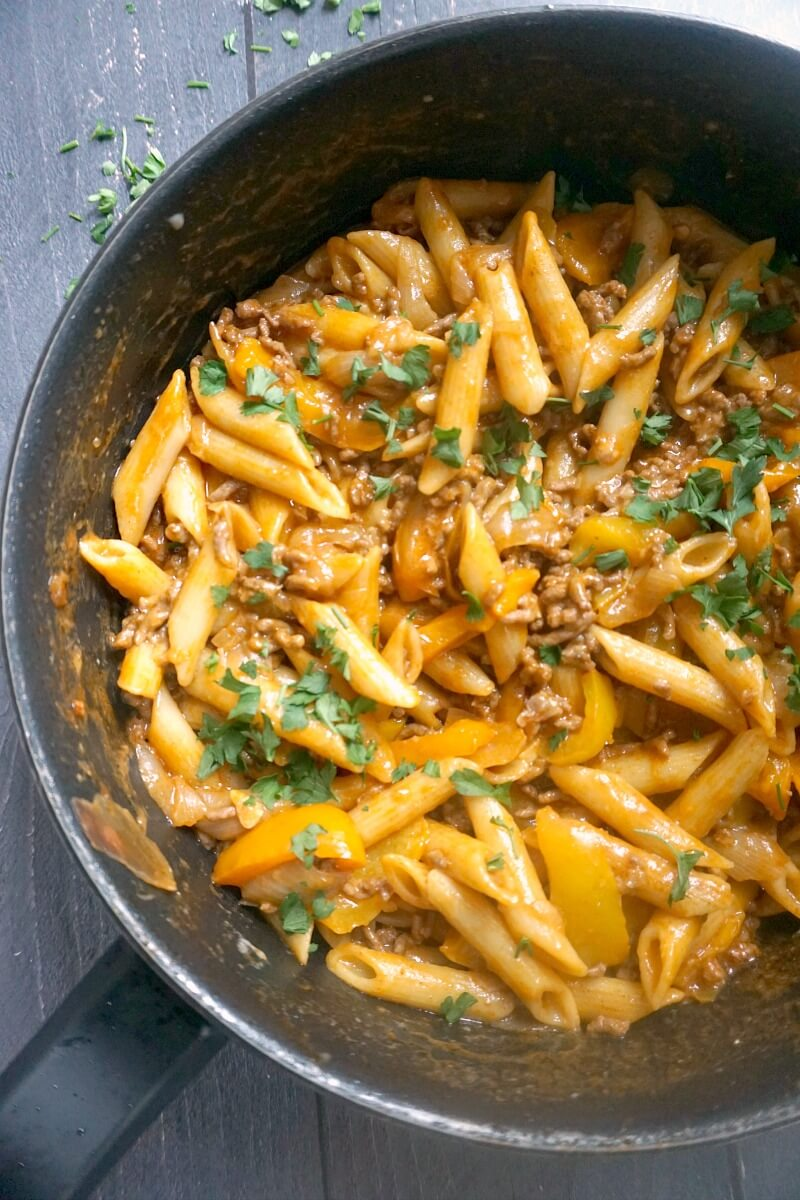 Overheafd shoot of half a pan with ground beef pasta