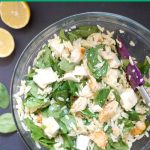 Chicken Spinach Orzo Salad with Dijon Mustard Dressing, a healthy and filling pasta salad that is ready in well under 30 minutes. The dressing is tangy and works beautifully with the other ingredients. A great recipe for a picnic, or a healthy packed lunch. This is a light summer salad that is best enjoyed cold from the fridge. Swap the orzo for pasta, and you get the same delicious salad. #orzosalad, #orzorecipes, #chickenrecipes, #saladrecipes