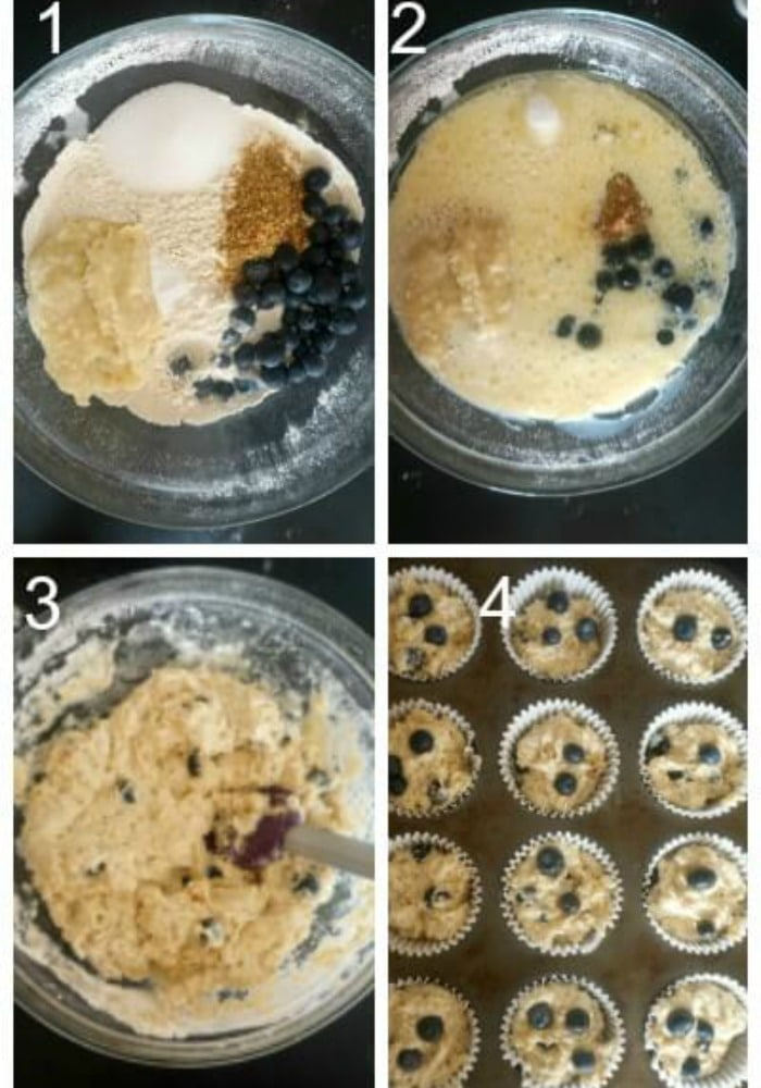 Collage of 4 photos to show how to make vegan blueberry muffins