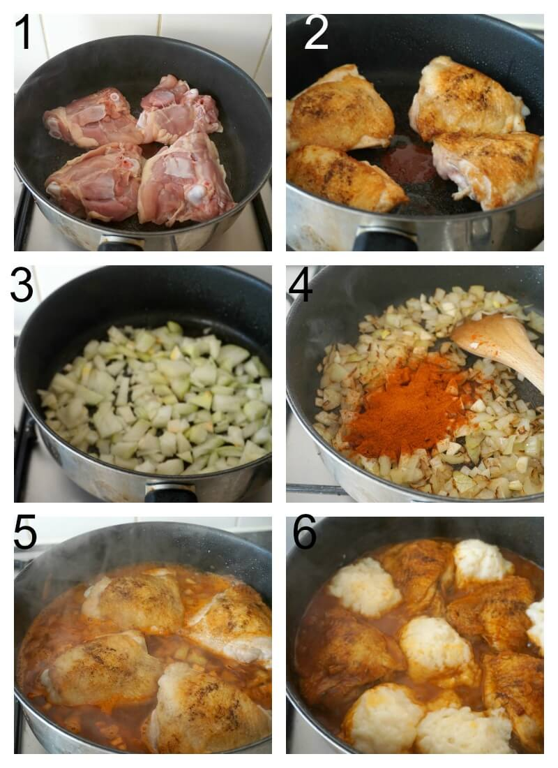 Collage of 6 photos to show how to make chicken paprikash