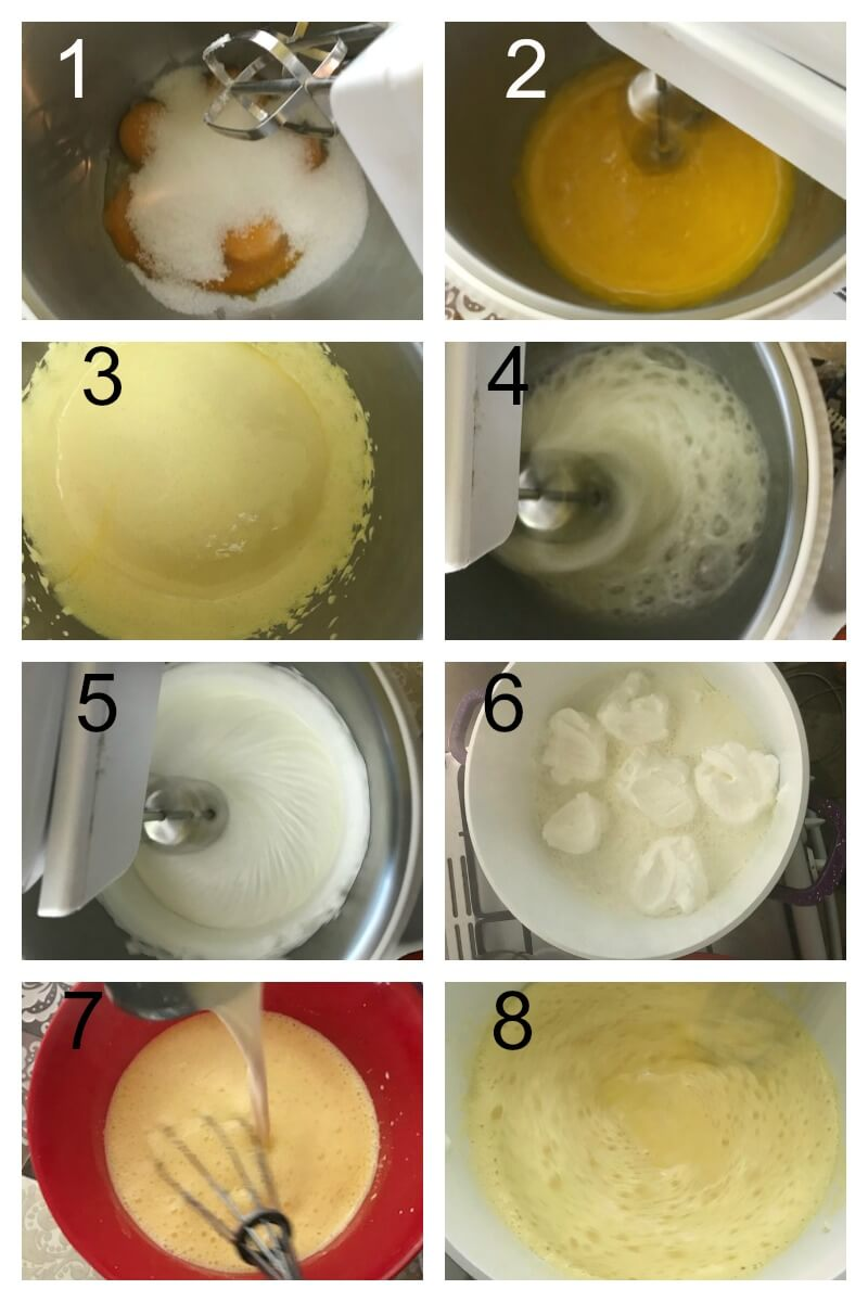 Collage of 8 photos to show how to make floaring island dessert