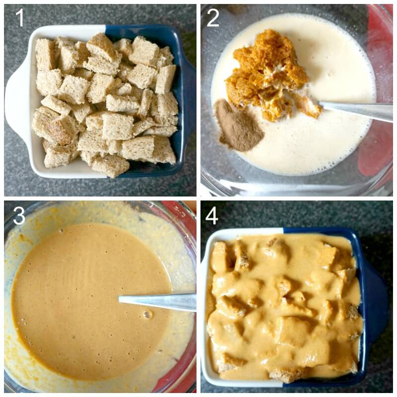Collage of 4 photos to show how to make pumpkin custard for pumpkin bread pudding