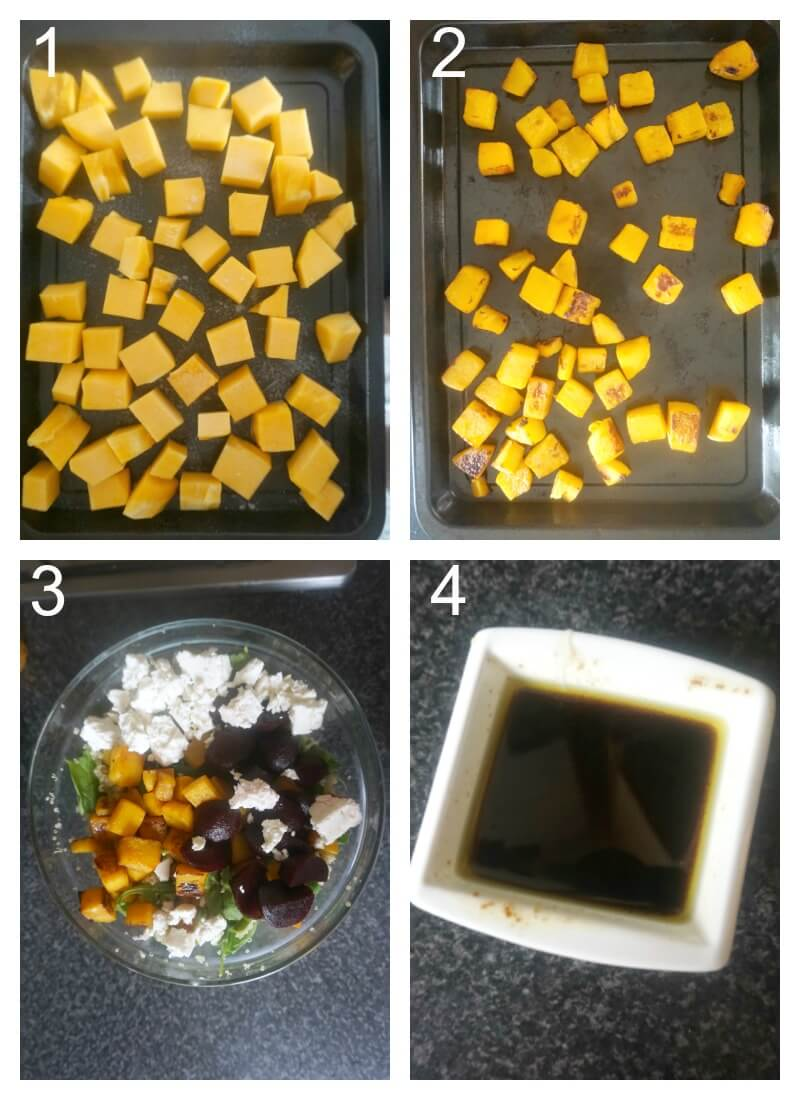 Collage of 4 photos to show how to make pumpkin and quinoa salad