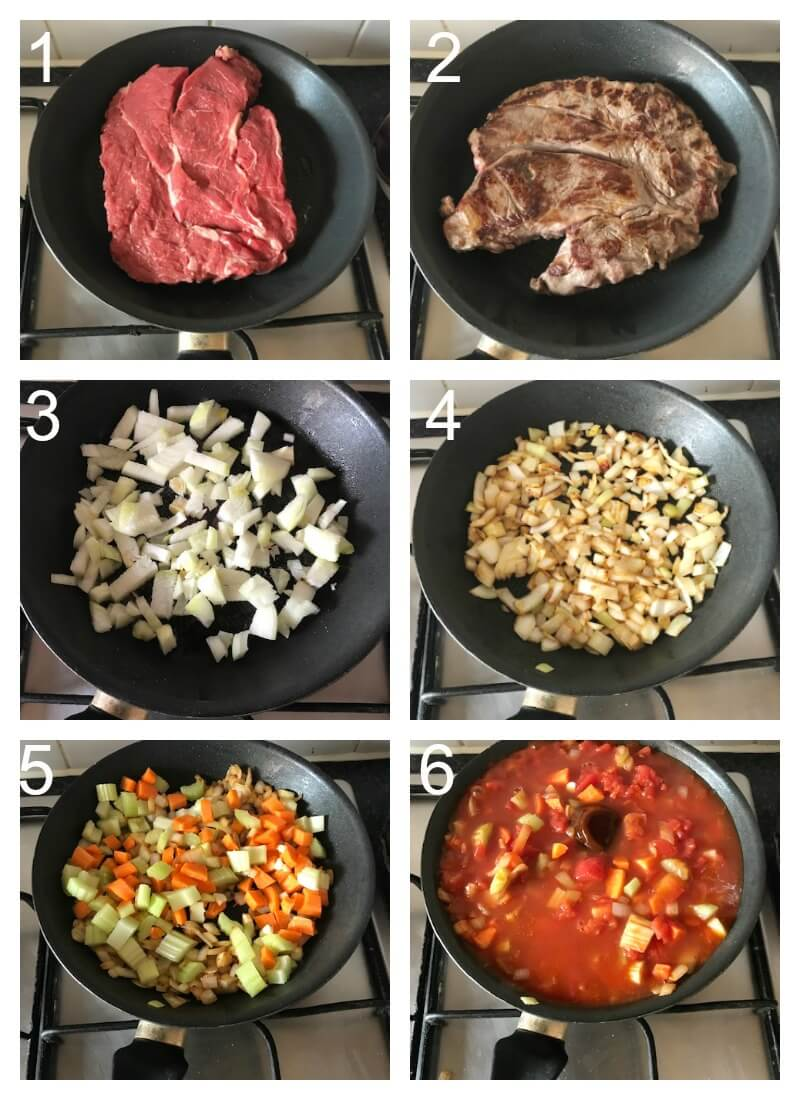 Collage of 8 photos to show how to make beef ragu in the slow cooker