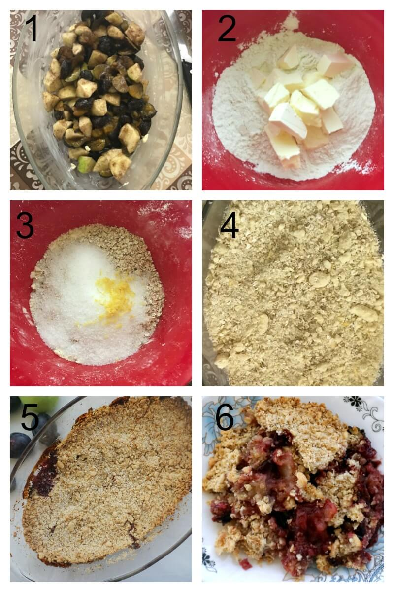 Collage of 6 photos to show how to make apple and plum crumble