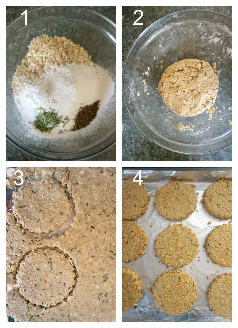 Collage of 4 photos to show how to make crispy oatmeal cookies