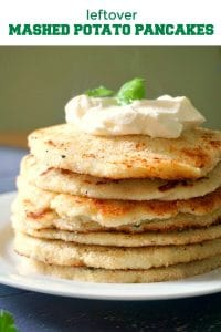 Cheesy Leftover Mashed Potato Pancakes or potato cakes, beautifully golden and so indulging. They make a delicious breakfast or brunch, and can be served either hot or cold with extra cheese, Greek yogurt, sour cream, fried eggs or bacon, or just on their own.