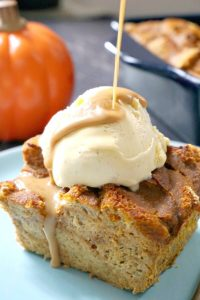 Best Pumpkin Bread Pudding with Vanilla Ice Cream and a rich Butterscoth Sauce, an exquisite Fall dessert for your Thanksgiving dinner. Easy to make, beautifully moist and a big hit with the whole family. It can be served at any party, or even game day.