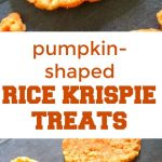 Pumpkin-Shaped Rice Krispie Treats, some seriously delicious Halloween or Thanksgiving goodies that can be made in about 10 minutes or less. Super easy, they go down a treat with kids and grown-ups alike.