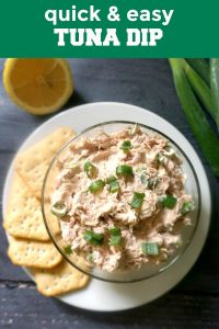 A super easy tuna dip recipe with cream cheese, spring onions, and a lemon kick. It's ready in less than 5 minutes, and can be served either with crackers, or as a spread with crostini or a simple toast. Quick, tasty, perfect for a hungry crowd. A great low carb and keto appetizer for parties. The cream cheese can be replaced with Greek Yogurt or sour cream.
