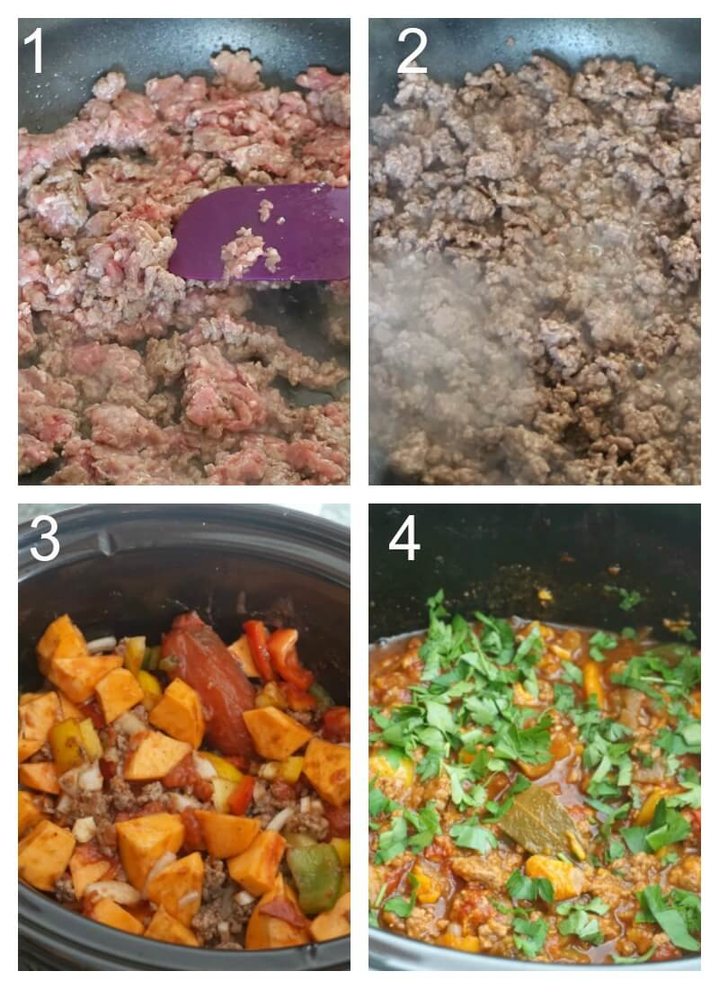Collag eof 4 photos to show how to make chili with ground beef and sweet potatoes in the slow cooker