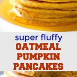 Fluffy Oatmeal Pumpkin Pancakes, a delicious breakfast or brunch treat this Fall. Incredibly easy to make, these pancakes can be enjoyed by the whole family. Bonus point, they are healthy, gluten free, and only 7g carbs per pancakes.