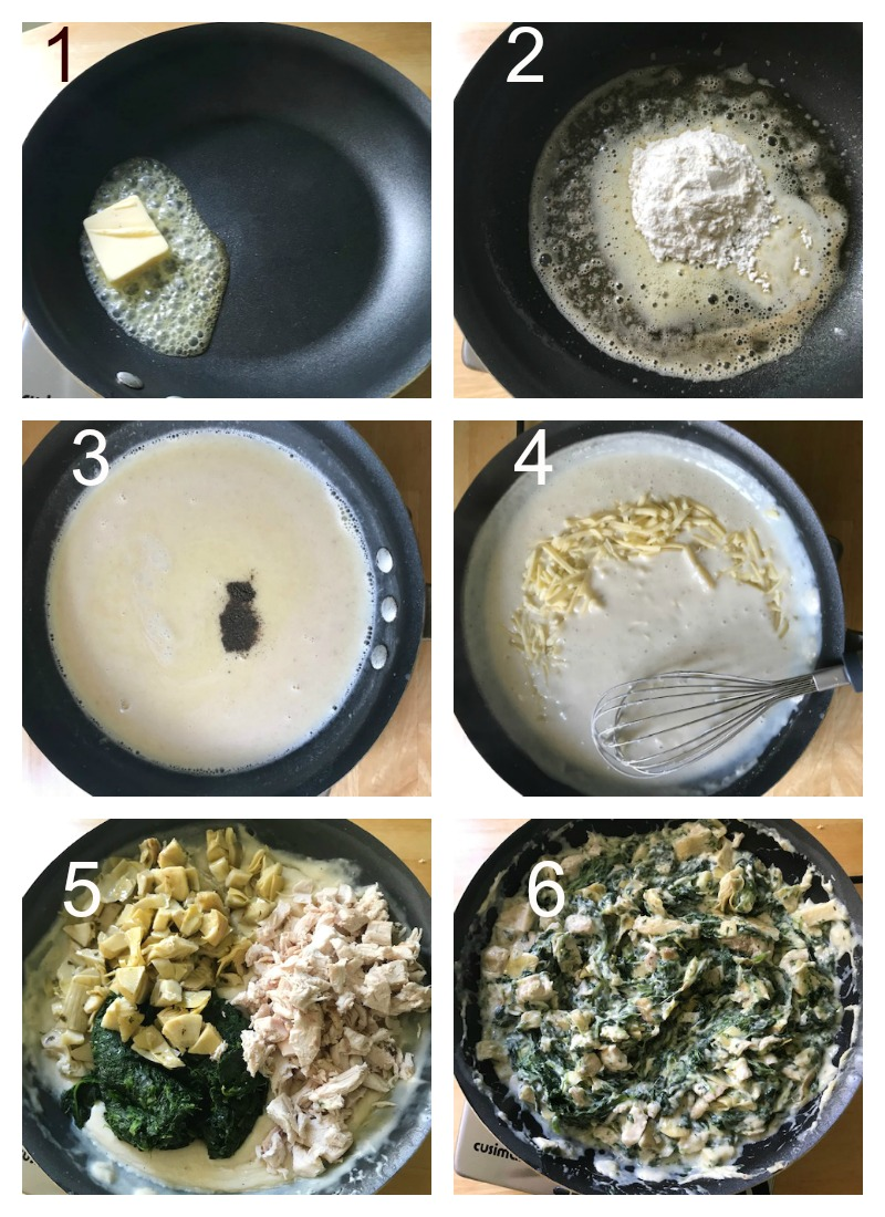 Collage of 6 photos to show how to make the chicken, spinach and asparagus filling for the lasagna