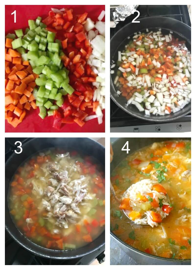 Collage of 4 photos to show how to make leftover turkey and rice soup