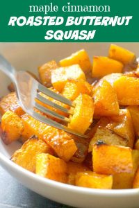 Maple Cinnamon Roasted Butternut Squash, a healthy and delicious side dish for you Thanksgiving dinner. It's such an easy side to make, but it's so yummy, and always a big hit with kids and grown-ups alike. Roasting the butternut squash in the oven enhances the natural sweetness of the squash, and the edges are slightly caramelised. What a great Fall treat! #sidedish, #butternutsquash, #thanksgivingsides, #maplessyrup, #cinnamon, #healthysidedish