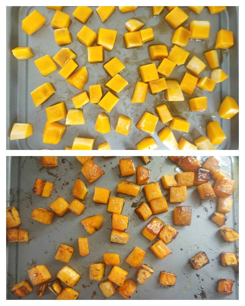 Collage of 2 photos to show how to make roasted butternut squash with maple syrup and cinnamon