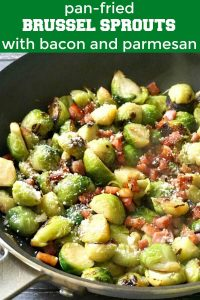 Pan-Fried Brussel Sprouts with Bacon, Garlic and Parmesan, a quick and easy way of cooking brussels sprouts in under 10 minutes. No more boring brussels sprouts, this is a healthy and delicious side dish, perfect for your Thanksgiving or Christmas dinner menu. It's a low carb and keto side that will impress even fussy eaters. I'll show you how to cook the best crispy sprouts that are sauteed to perfection on the stove top. #brusselsprouts, #sidedish, #thanksgiving, #christmassidedish, #healthy