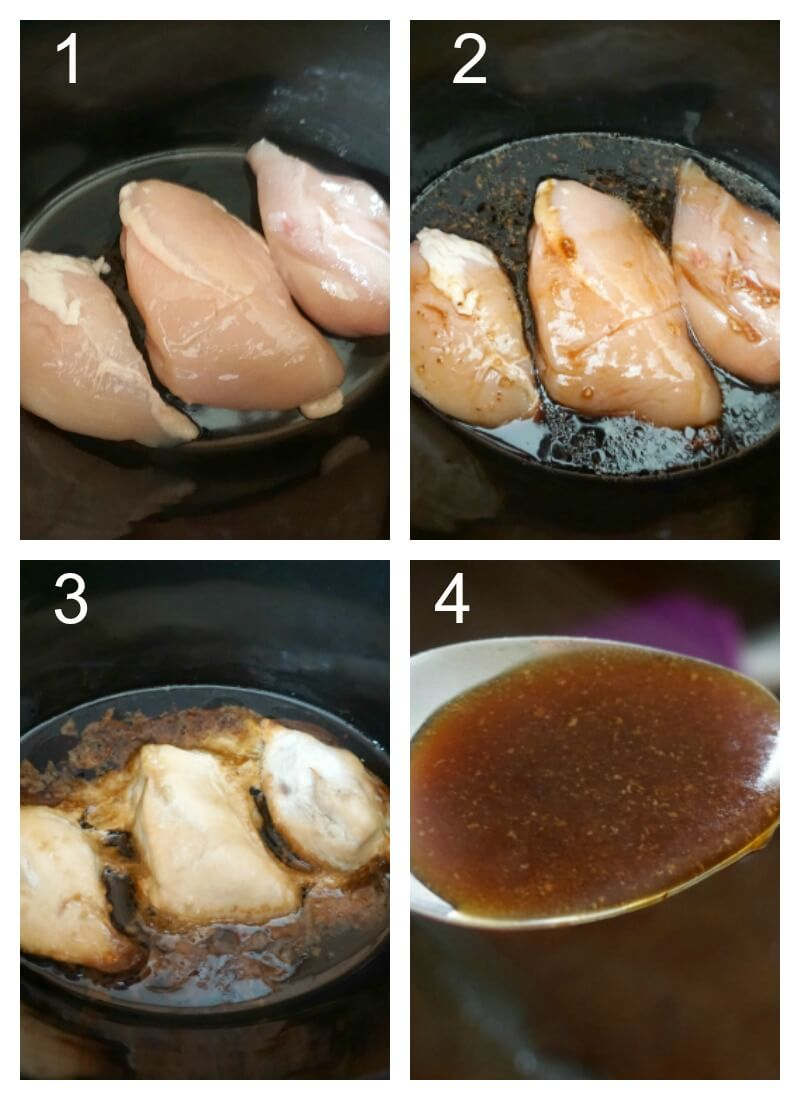 Collage of 4 photos to show how to make chicken teriyaki in the crock pot