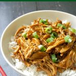 Slow Cooker Teriyaki Chicken cooked in a delicious homemade teriyaki sauce, then shredded and served over a bed of rice, a healthy and easy dinner recipe with an Asian touch. The chicken is so tender that is simply melts in your mouth, and the sauce gives such a great flavour. I'll show you how to make the best chicken teriyaki in the crock pot with no effort at all. Great for the whole family. #chickenteriaki, #crockpot, #slowcooker, #chickendinner, #slowcookerchickenteriyaki, #healthyrecipes