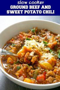 Slow Cooker Ground Beef and Sweet Potato Chili from scratch, the best comfort food for the cold days ahead. It's bursting with amazing flavours, and it's super easy to make. A healthy dinner recipe for busy families, this chili has no beans, but instead it's loaded with vegetables and high in protein. This crock pot chili con carne is absolutely delicious, and goes well with kids and grown-ups too. #slowcookerchili, #crockpotrecipes, #groundbeef, #sweetpotatoes, #comfortfood, #rainydayfood