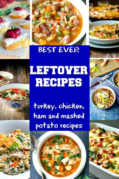 Collage of leftover recipes