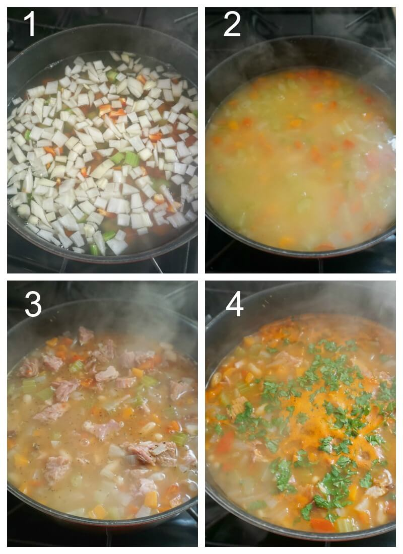 Collage of 4 photos to show how to make leftover ham and bean soup