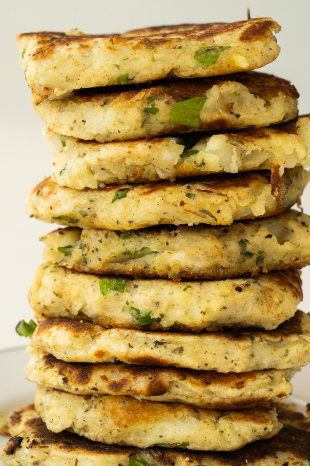 A stack of mashed potato patties