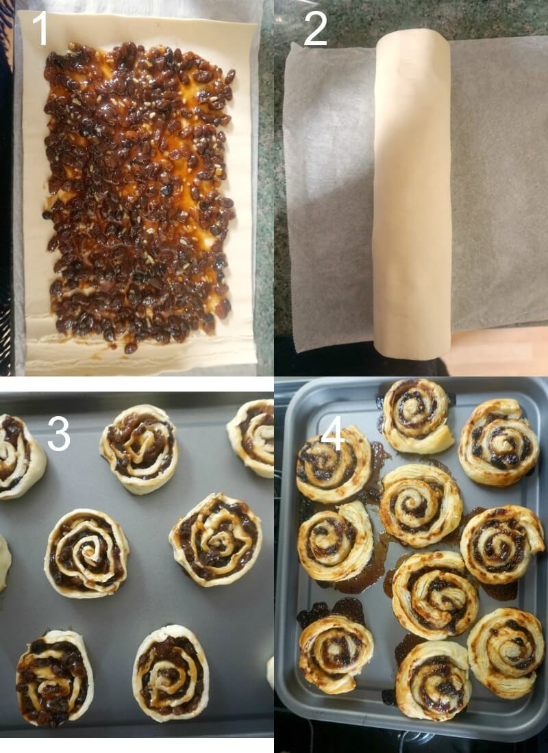 Collage of 4 photos to show how to make mince pie pinwheels
